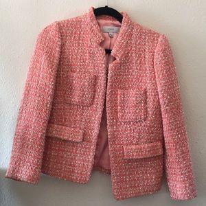 Spring J Crew pink coral tweed plaid blazer